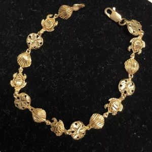"New 10k Yellow Gold  7"" Beach Bracelet"